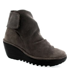 Womens Fly London Yegi Wedge Heel Grey Shoes Velcro Oil Suede Ankle Boot US 5-12