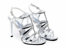 Prada high stiletto heels strappy sandals shoes in silver Laminated kid leather