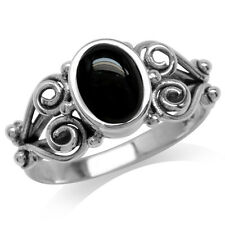Black Onyx Antique Finish 925 Sterling Silver Victorian Style Ring