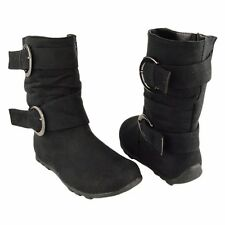 Girls Toddler Youth Faux Suede Ankle Boots w/ Buckle Strap Accent Black Sz 9-4