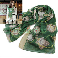 Women's Vintage Retro Chain Pocket Watch Print Cotton Voile Scarf Large Shawl
