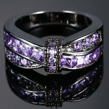 Purple Amethyst Criss Cross Wedding Bridle Band Ring Black Gold Filled Jewelry