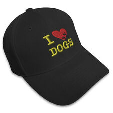 I LOVE DOGS HEART PAWS PETS Embroidery Embroidered Adjustable Hat Baseball Cap