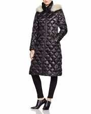 DL2 By DAWN LEVY Woman's Kali Black Down Long Puffer Coat Jacket Hooded Real Fur