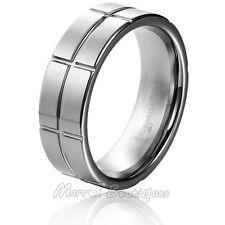 8mm Silver Tungsten Carbide Ring Multi- Grooved Men's Engagement Wedding Band