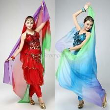 Women's Girls Sheer Gradient Veil Shawl Face Scarf Belly Dance Bollywood Costume