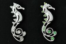 Sea Horse Cubic Zirconia Pin Brooch, Green or Clear Crystals