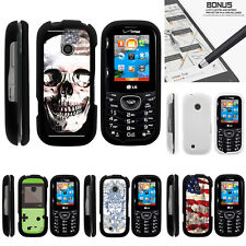 For LG Cosmos 3 VN251S Case Hard Snap On 2 Piece Slim Shell USA Skull