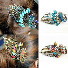 Vintage Peacock Hair Clip Crystal Hairpins Rhinestone Barrette Retro hair Pins