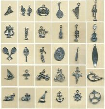 MUSIC, SPORTS, VEHICLES pewter charm-  30 to choose from- Singles or pairs