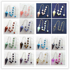 x8020 Mixed Gemstone Pendulum with Pouch Divination Healing Wicca Yang