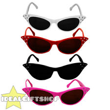 ADULTS 1950'S GLASSES PINK RED WHITE BLACK LADIES FANCY DRESS ROCK N ROLL RETRO