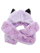 Lilac Wolf With Cute Owl Lining Pink Faux Fur Animal Hat With Paws