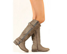 Equestrian Riding Zipper Buckle Knee High Vegan Leather Boot Beige