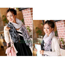 New Fashion Women's Tornado Scrawl Voile Cotton Soft Long Large Scarf Shawl Wrap