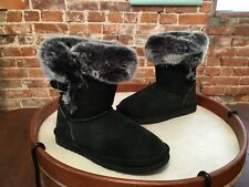 LAMO Black Suede Water Resistant Faux Fur Sable Pull on Boots NEW