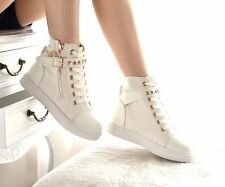 Womens High-Top Canvas bucklet Platform Sneakers Trainers Shoes Black US Size