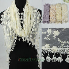 Breeze Delicate Embroidery Floral Tulle Lace Trim Scarf Funky Tassle Shawl New