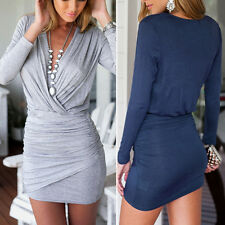 Sexy Women Summer Casual Long Sleeve Party Evening Cocktail Short Mini Dress EL