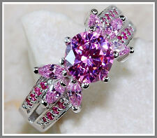 2CT Pink Sapphire 925 Solid Genuine Sterling Silver Ring Sz 6-US or L-UK