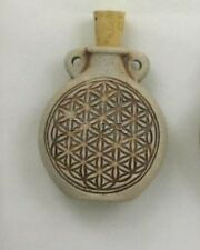 Ceramic Pottery Bottle-Necklace, High Fired Flower of Life, Choice of Lot Size