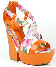 Orange Pink Floral Criss Cross Strappy Open Toe High Chunky Heel Platform Sandal