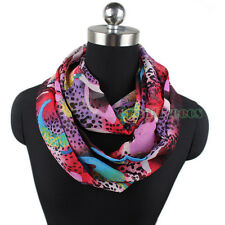 Women's Chiffon Leopard Pullover Infinity Scarf Circle Loop Cowl Eternity Wrap