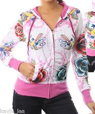 White/Pink Tattoo Birds & Roses Zip Front Hooded/Hoodie Track Jacket