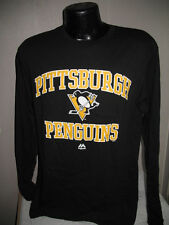 NHL Pittsburgh Penguins Hockey Long Sleeve Logo T-Shirt Mens Majestic Logo T Nwt