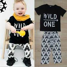 Short Sleeve Toddler Baby Boys Letter Shirt Tops Pants 2pcs Set Outfits Clothes