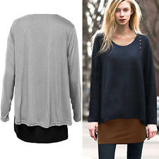 Womens Irregular Long Sleeve Blouse Loose Tunic Sweater Pullover Tops Plus Size