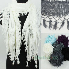 Elegant Stylish Women Soft Hollow Out Solid Trim Tassel Long Scarf Shawl Wrap