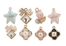 10PCS Mixed Lots of Faux Pearl Clover Rhinestone Bowknot Starfish Charms #92996