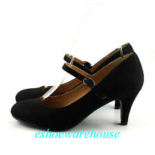 Black Faux Suede Awesome Cutie Round Toe Mary Jane Mid Heels Pumps