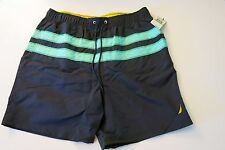 Nautica Men's L Navy Blue Swim Trunks Mesh Lined Board Shorts NWT