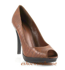 Sexy Open Toe Stacked Heel Platform Pumps Brown Croc