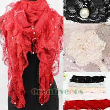 Fashion Women's 3D Flower Pearls Sequins Floral Trim Triangle Casual Scarf Wrap
