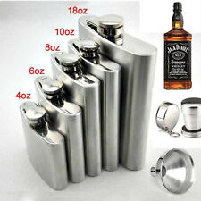 4-18 oz Stainless Steel Solid Silver Hip Flask Bottle Funnel Cap + Funnel NEW