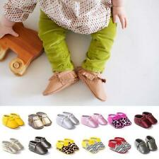 Toddler Baby Boys Girls Tassel Leather Shoes Moccasin Soft Sole Crib Shoes 0-18M