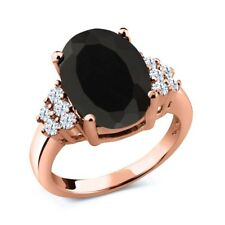 5.40 Ct Oval Black Onyx White Topaz 18K Rose Gold Plated Silver Ring