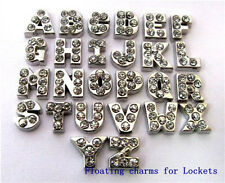10pcsA-Z Letters With Crystal Floating Charms For Living Memory Locket Free Ship