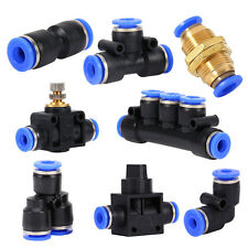 8 Types Pneumatic Push In Fittings Air Water Hose Tube Pipe Connector Joiner New