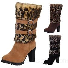 NEW Pump Print Ladies Leopard Mid Calf Heel Boots Shoes AU sz 4 5 6 7 8 9 10