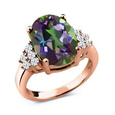 4.30 Ct Oval Green Mystic Quartz 18K Rose Gold Plated Silver Ring