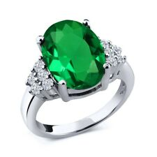 4.33 Ct Oval Green Simulated Emerald White Diamond 925 Sterling Silver Ring