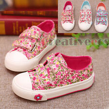 Fashion Kids Toddlers Girls Small Flower Rural Style Canvas Sneaker Casual Shoes