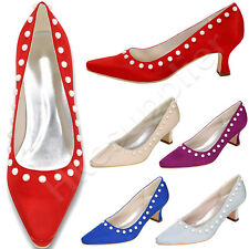 ladies satin bridal wedding shoes kitten mid heel womens closed toe party shoes