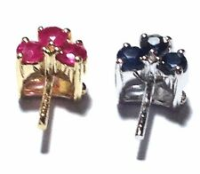 14K & 18K White & Yellow Gold Natural 3 pcs Ruby / Sapphire Pendant Setting