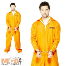Prisoner Fancy Dress Orange Boiler Suit Mens Convict Halloween Adults Costume