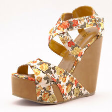 Mustard Yellow Floral Rosette Criss Cross Open Toe Platform Wedge Spring Sandal